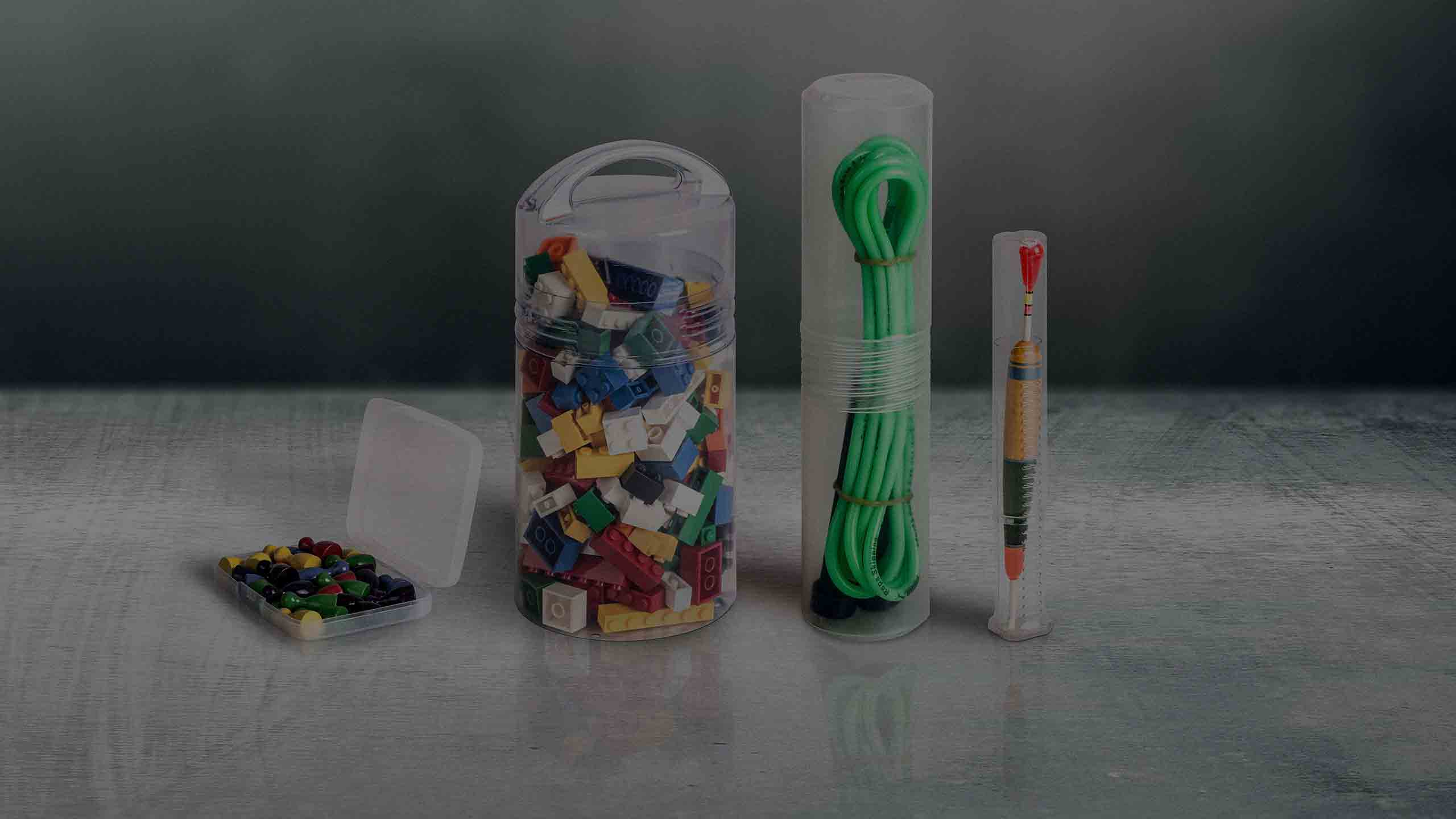 A selection of plastic packaging solutions for sporting goods and toys.